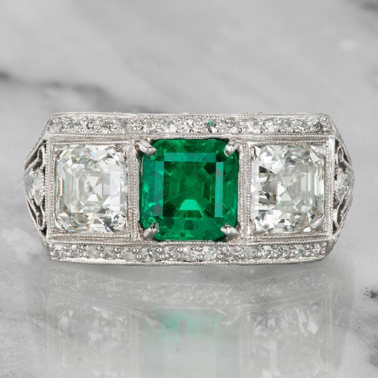 unconventional vintage emerald cut engagement ring