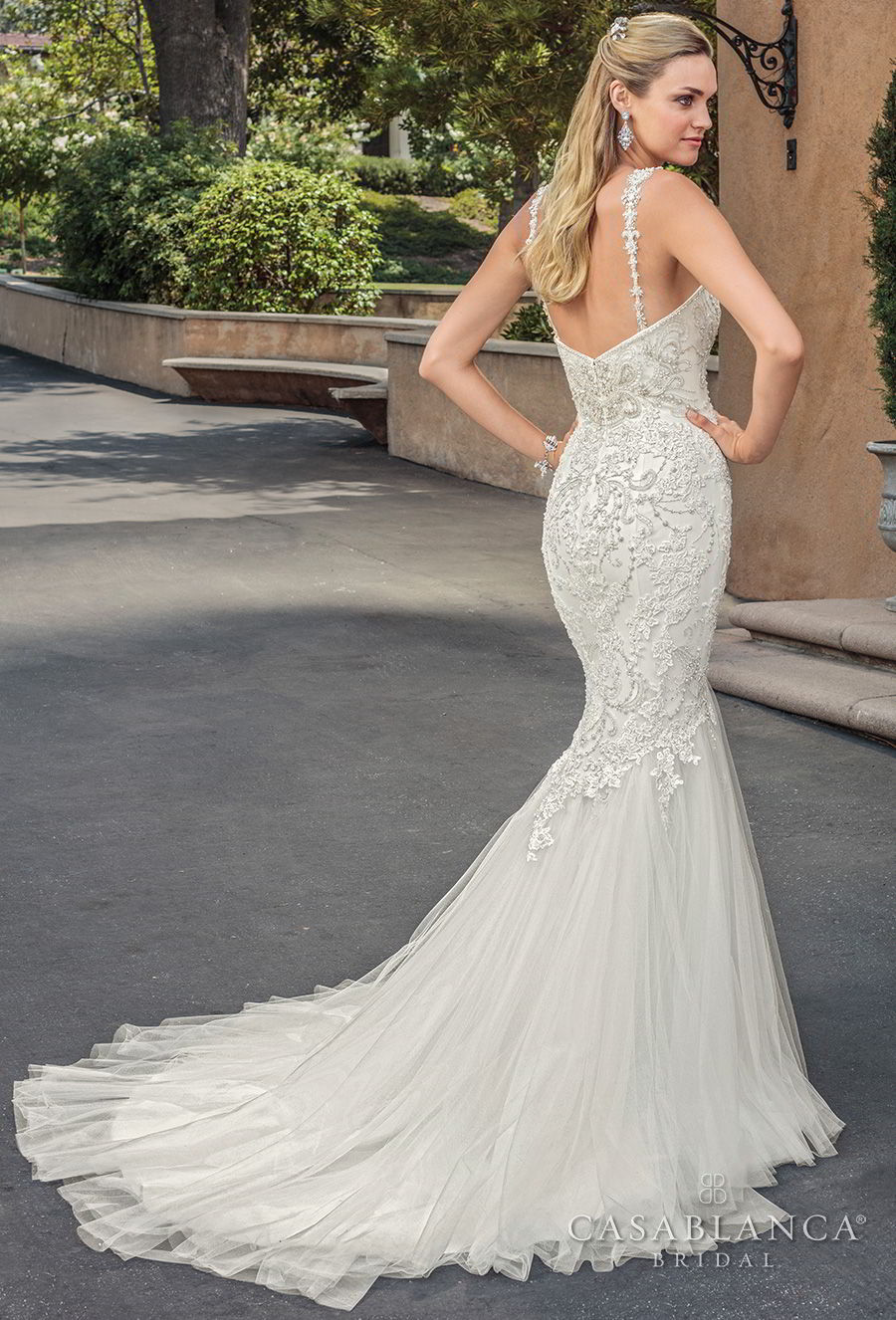 casablanca spring 2018 thin strap sweetheart neckline heavily embellished bodice elegant mermaid wedding dress medium train (paige) bv