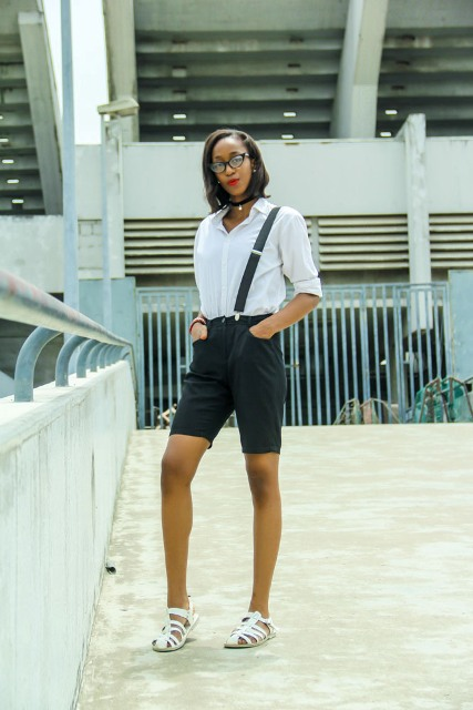 With white button down shirt and cutout flat sandals