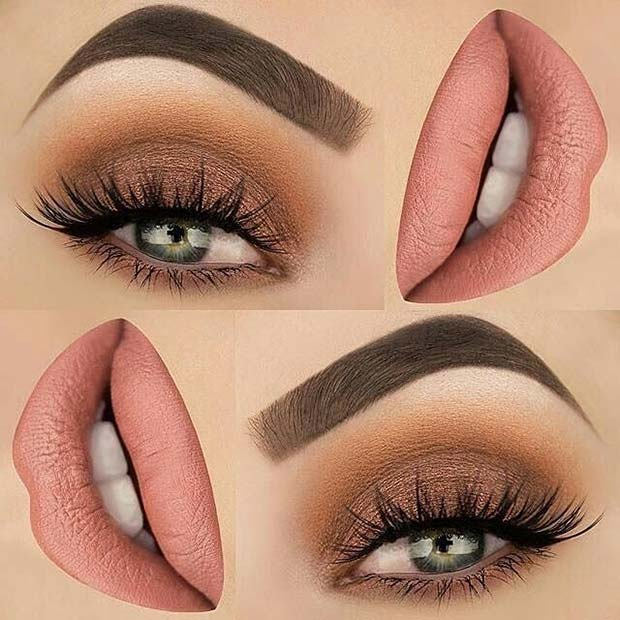 Brown and Nude Eye Shadow and Lip Color Makeup Idea for Spring