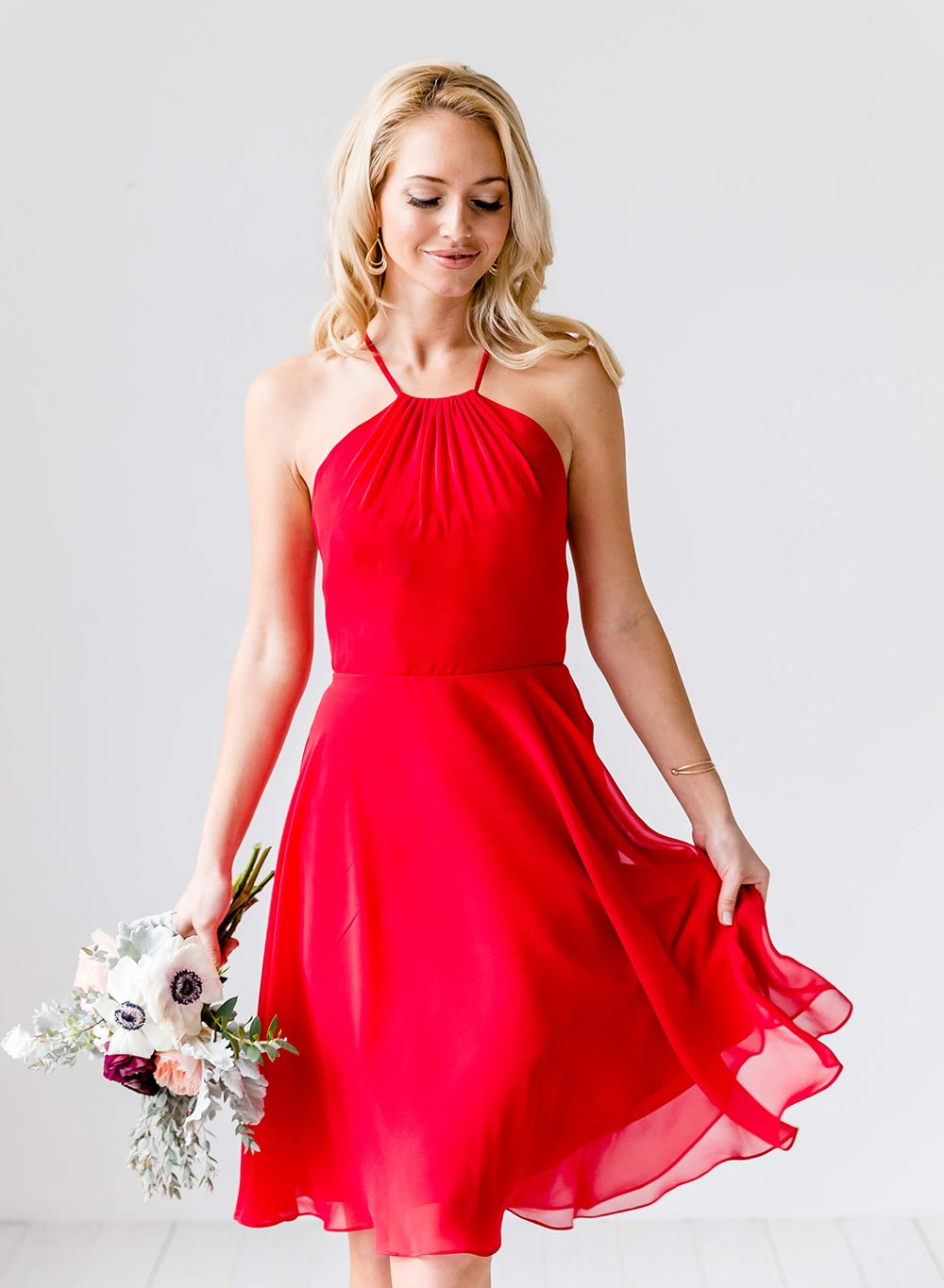flirty red halter bridesmaid dress