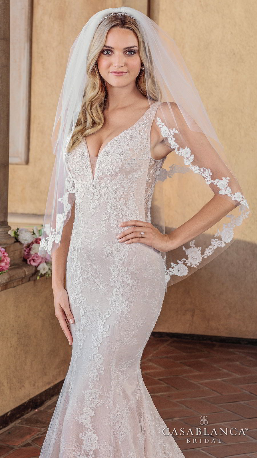 casablanca spring 2018 sleeveless deep v neck full embellishment elegant fit and flare wedding dress sheer lace back chapel train (chloe) zv