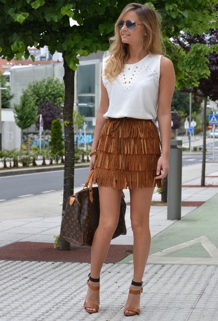 With white top, printed bag and brown and black shoes