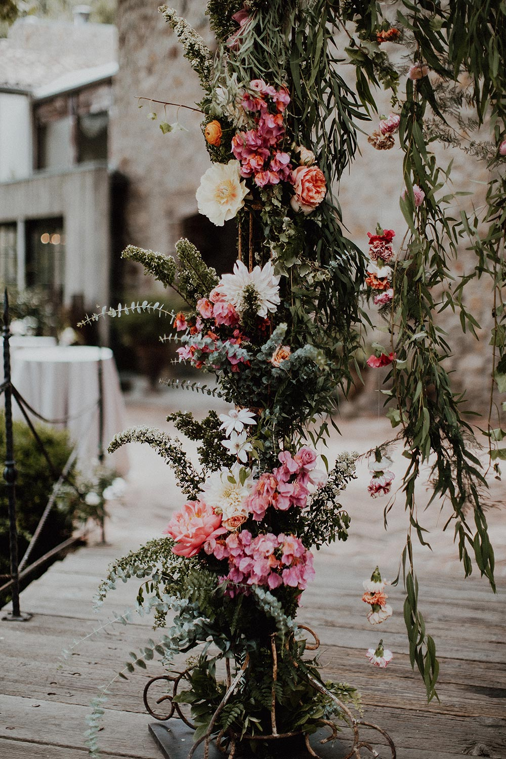 pink wedding flower arch