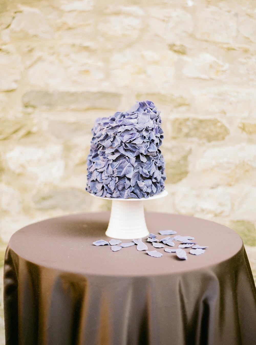 purple wedding cake sugar flowers