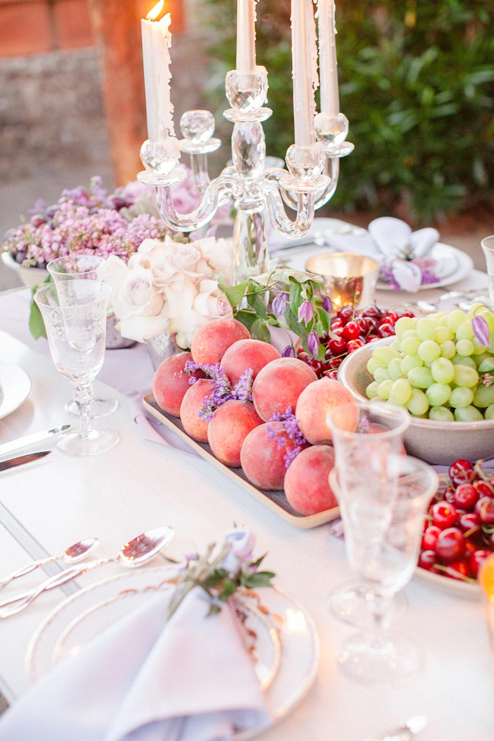 wedding tablescape fruit display