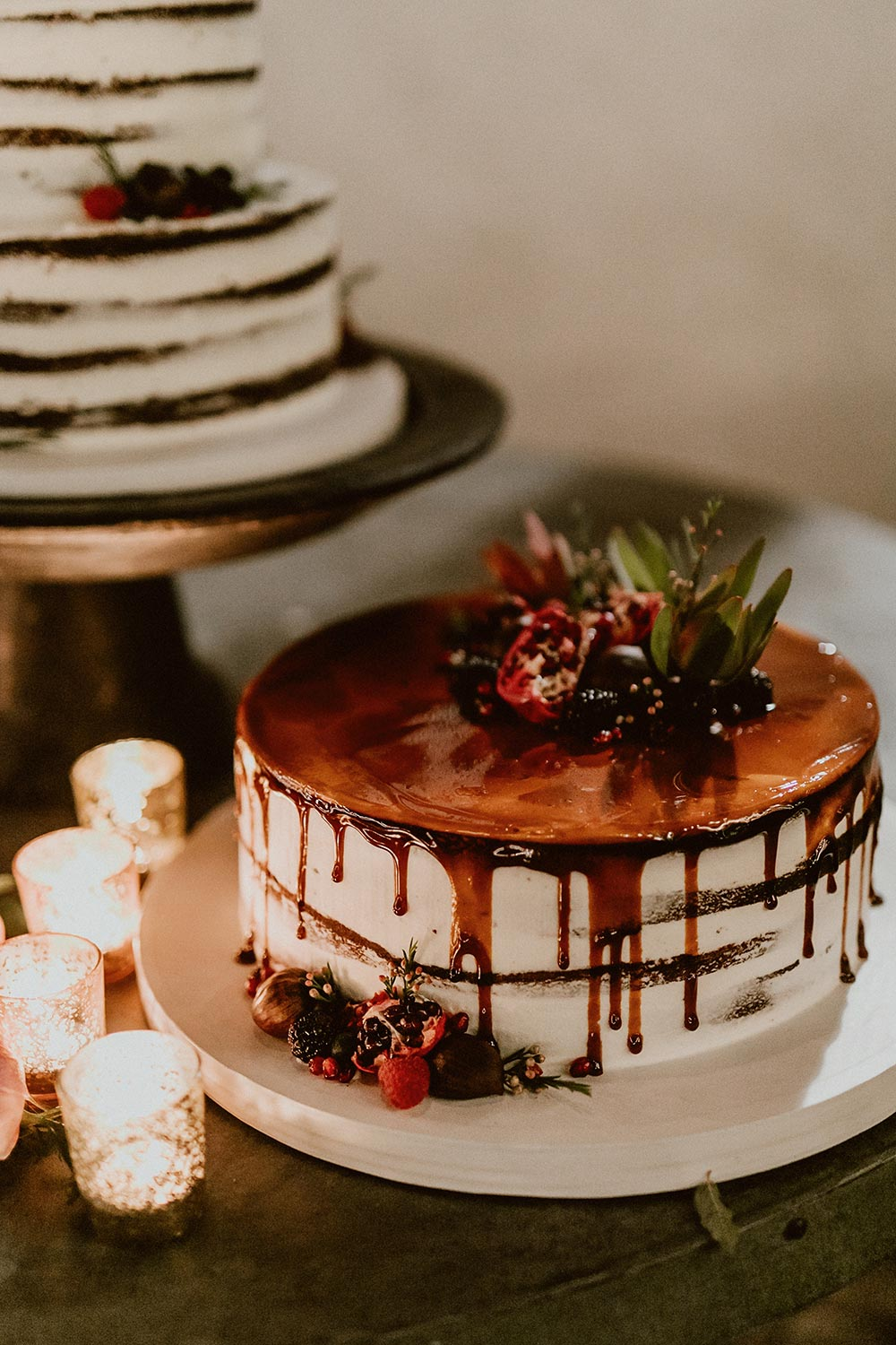 drippy chocolate wedding cake