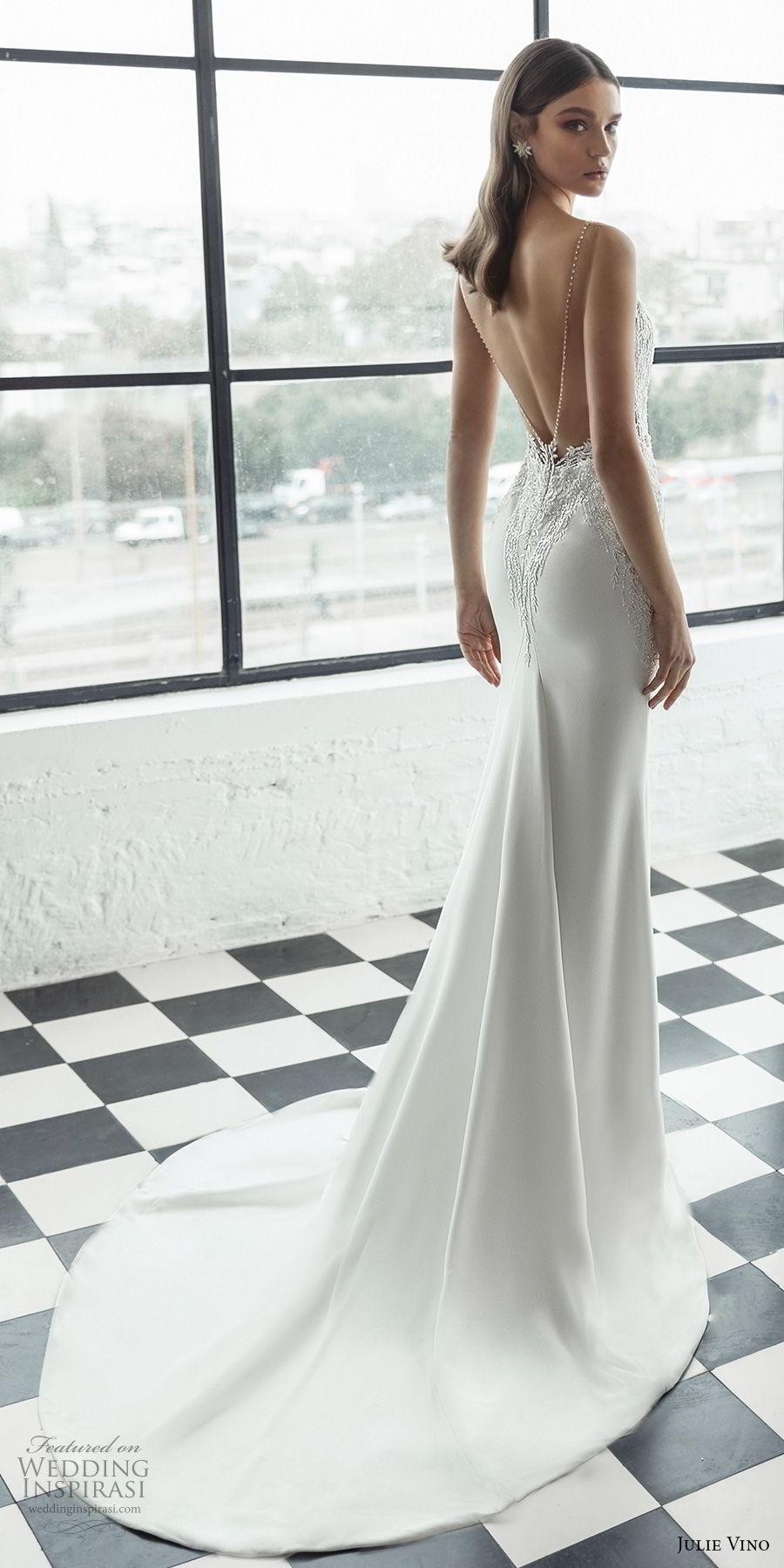 julie vino 2019 romanzo bridal sleeveless deep plunging sweetheart neckline heavily embellished bodice romantic fit and flare wedding dress low v back chapel train (8) bv