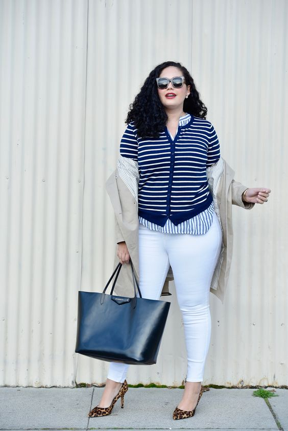 white jeans, leopard printed shoes, a striped shirt and a cardigan for a stripe on stripe look