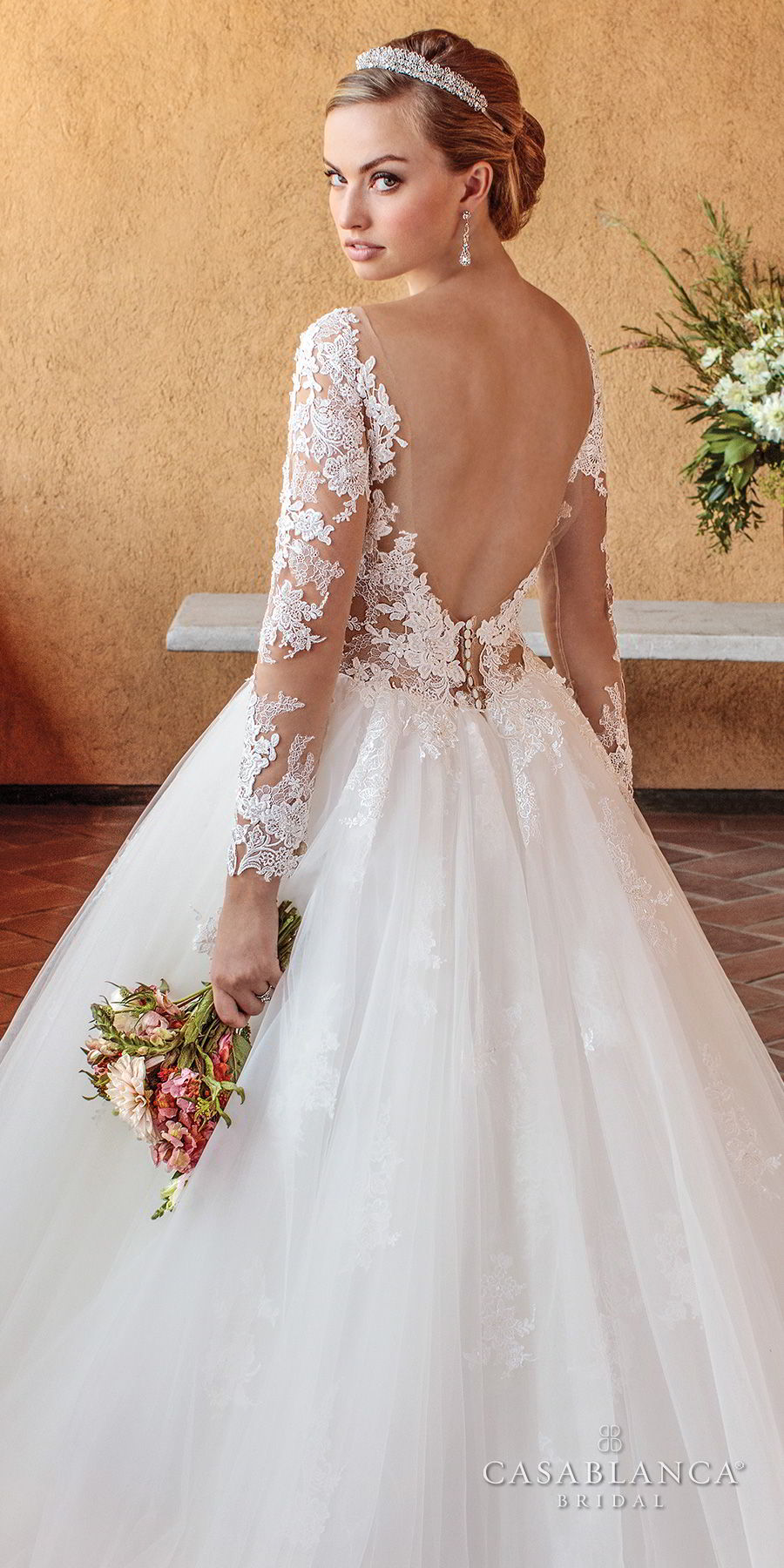 casablanca spring 2018 long sleeves scoop neckline heavily embellished bodice romantic ball gown a line wedding dress open scoop back chapel train (elsie) zbv