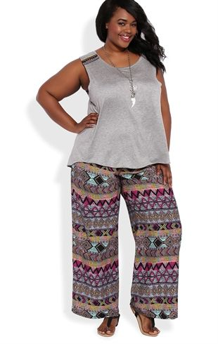 Plus-size-palazzo-pants-dark-women- 28 Modern ways to Wear Palazzo Pants with other Outfits