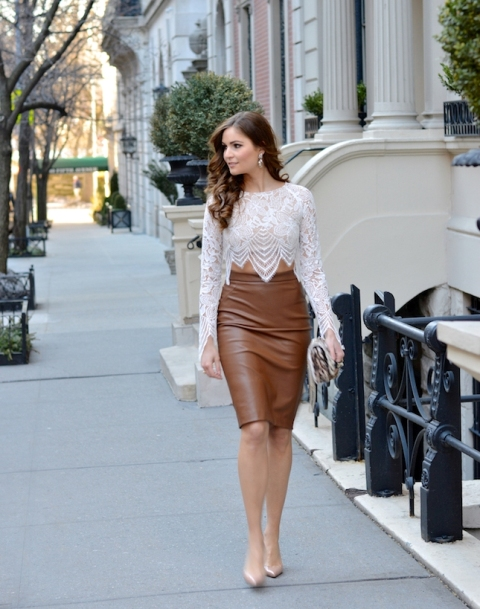 With brown leather pencil skirt, clutch and beige pumps