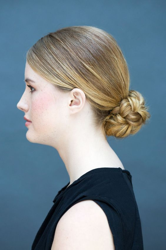 a braided low bun is a great and fresh take on a usual bun