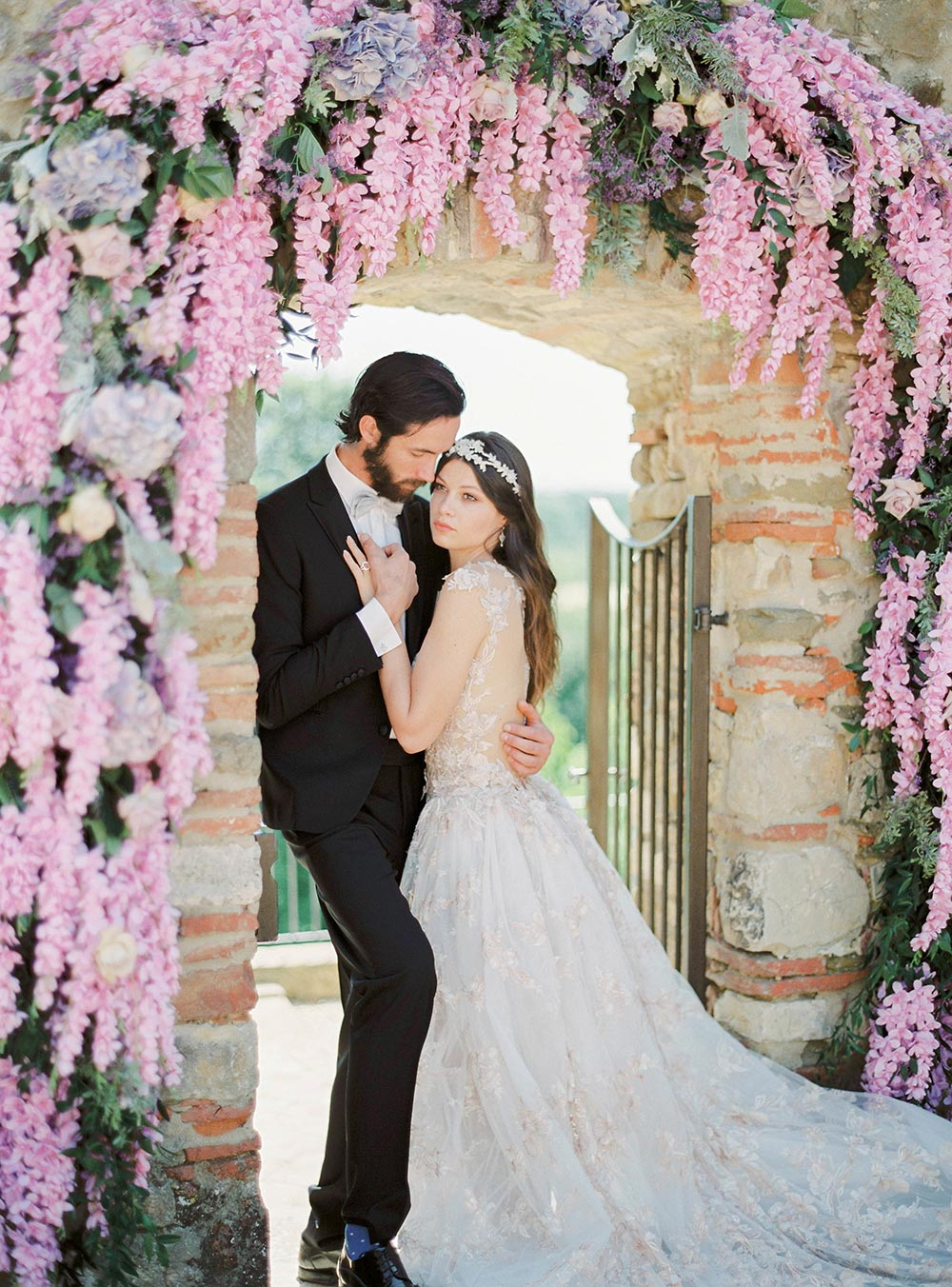 romantic wisteria wedding ceremony tuscany piazza