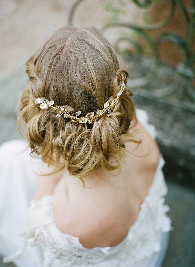 romantic wedding updo tousled locks