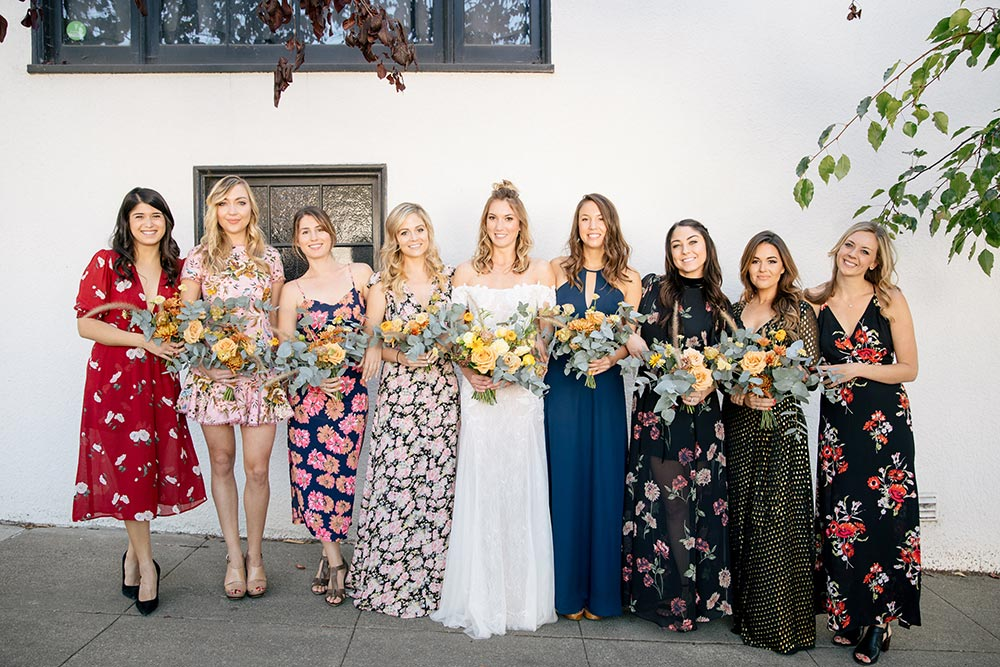 mix n match floral bridesmaid dresses