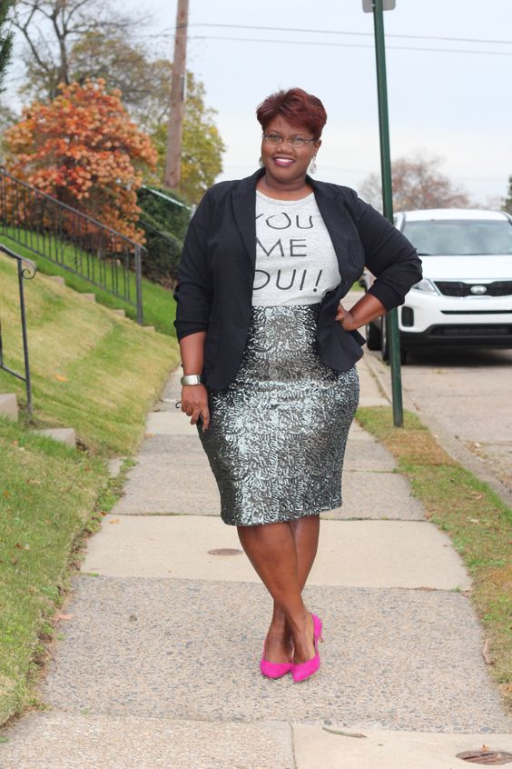 a silver sequin pencil knee skirt, a printed tee, a black jacket and hot pink shoes
