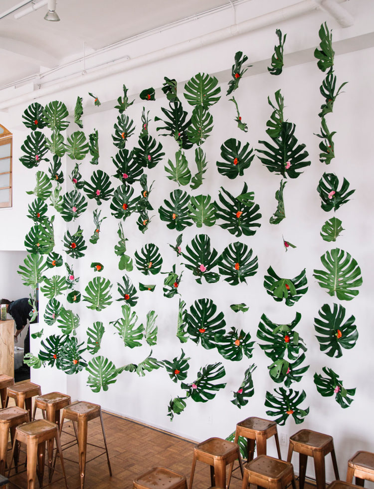 There was also a cute monstera leaf backdrop