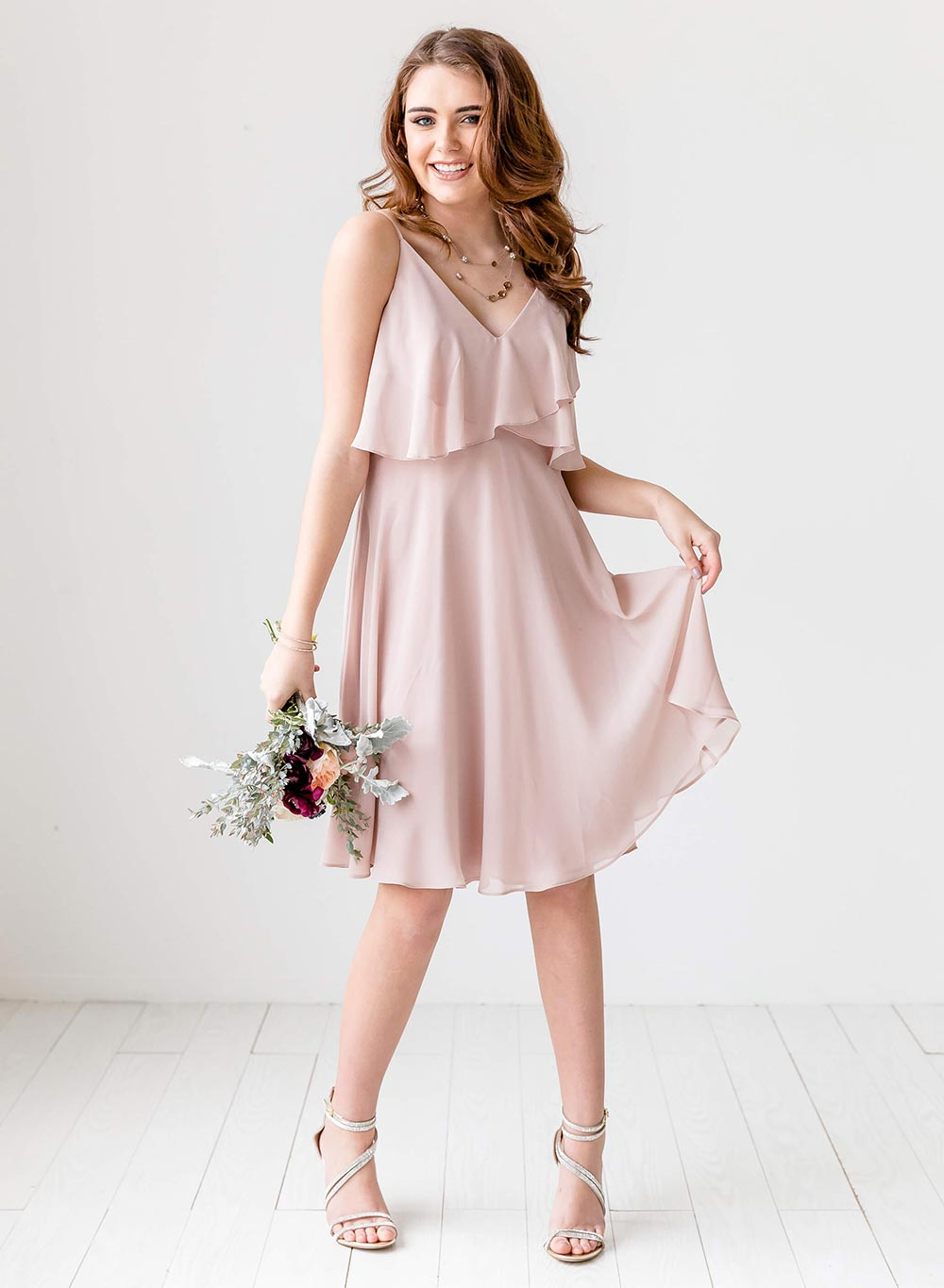 short pink chiffon bridesmaid dress
