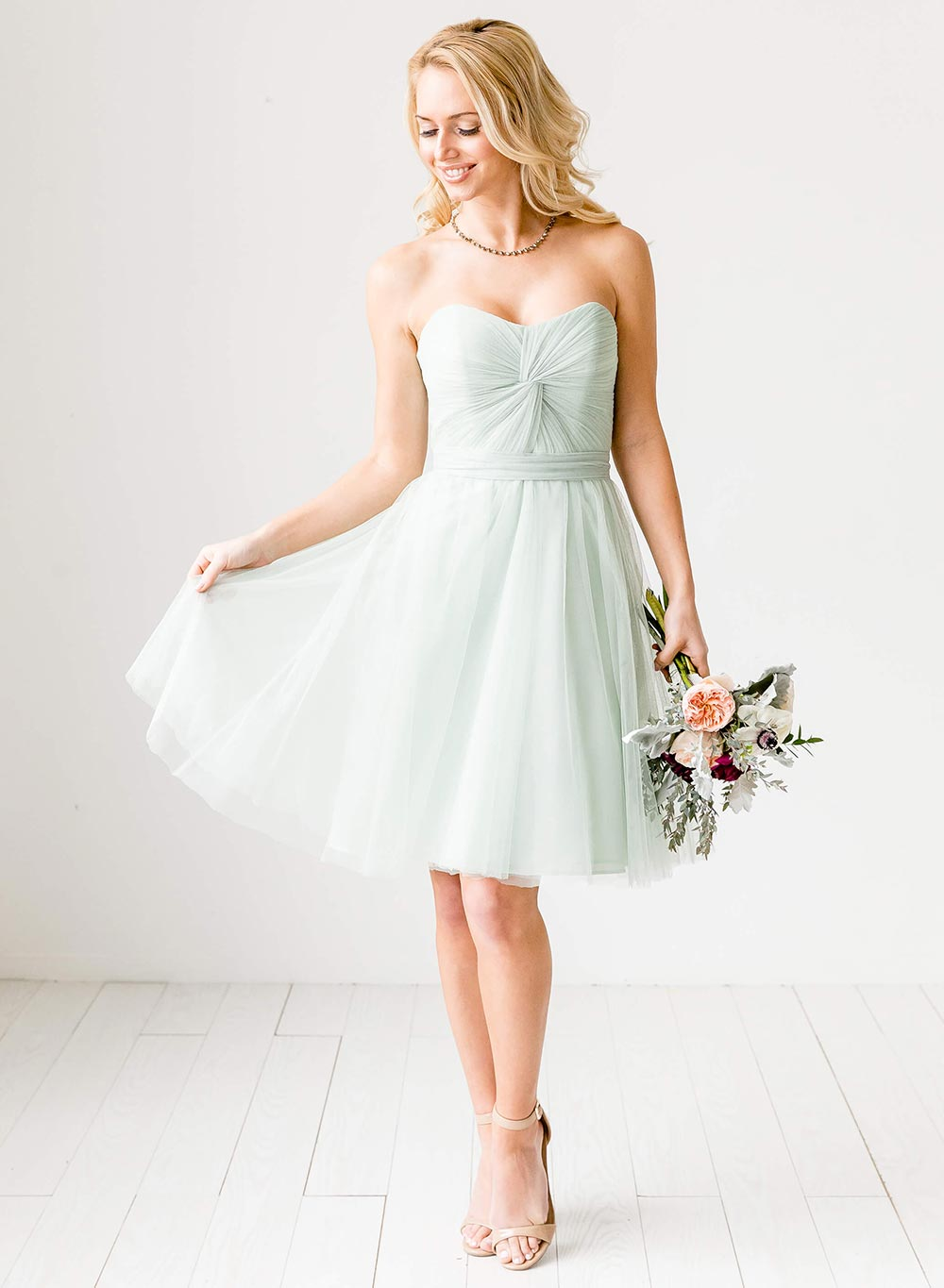 short mint tulle bridesmaid dress