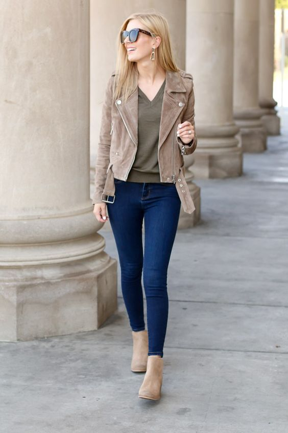 blue skinnies, an olive green tee and a tan suede cropped jacket