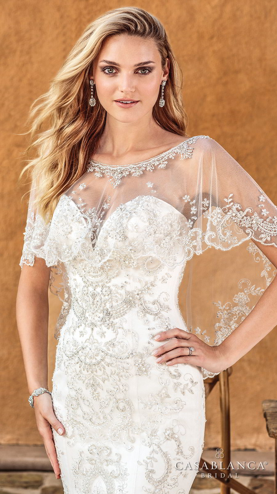 casablanca spring 2018 strapless sweetheart neckline full embellishment elegant fit and flare wedding dress capelet medium train (haven) zv