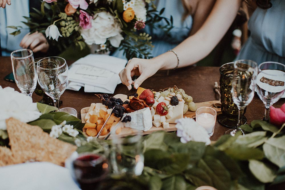 whimsical garden wedding reception cheese board