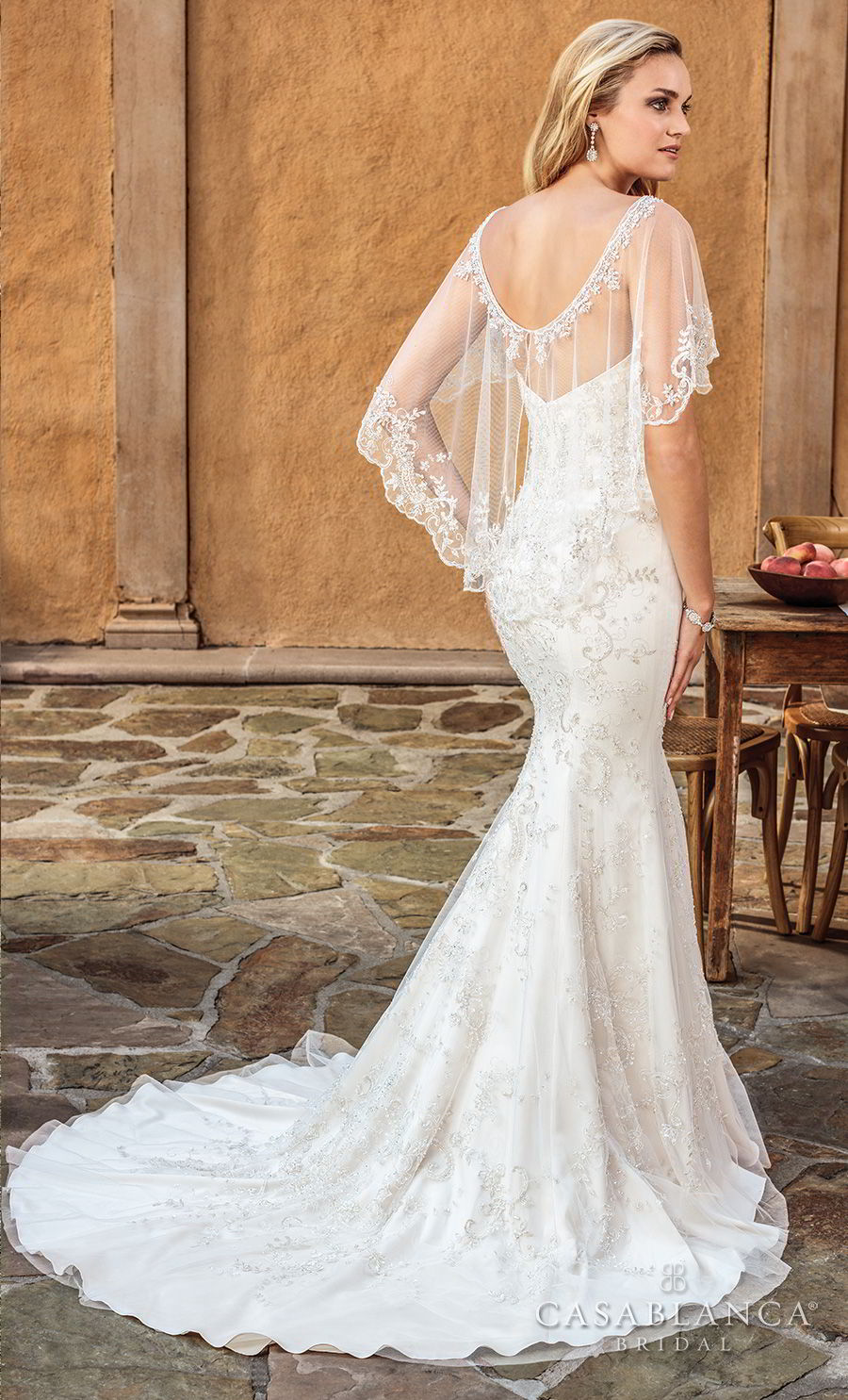 casablanca spring 2018 strapless sweetheart neckline full embellishment elegant fit and flare wedding dress capelet medium train (haven) bv