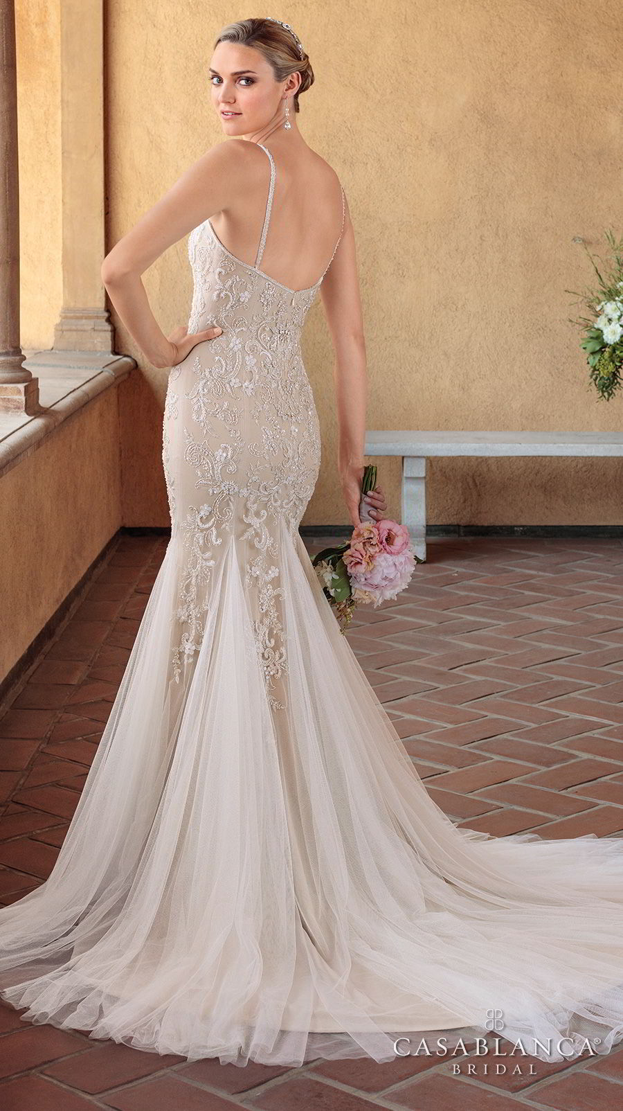 casablanca spring 2018 thin strap sweetheart neckline heavily embellished bodice elegant mermaid wedding dress short train (pixie) bv