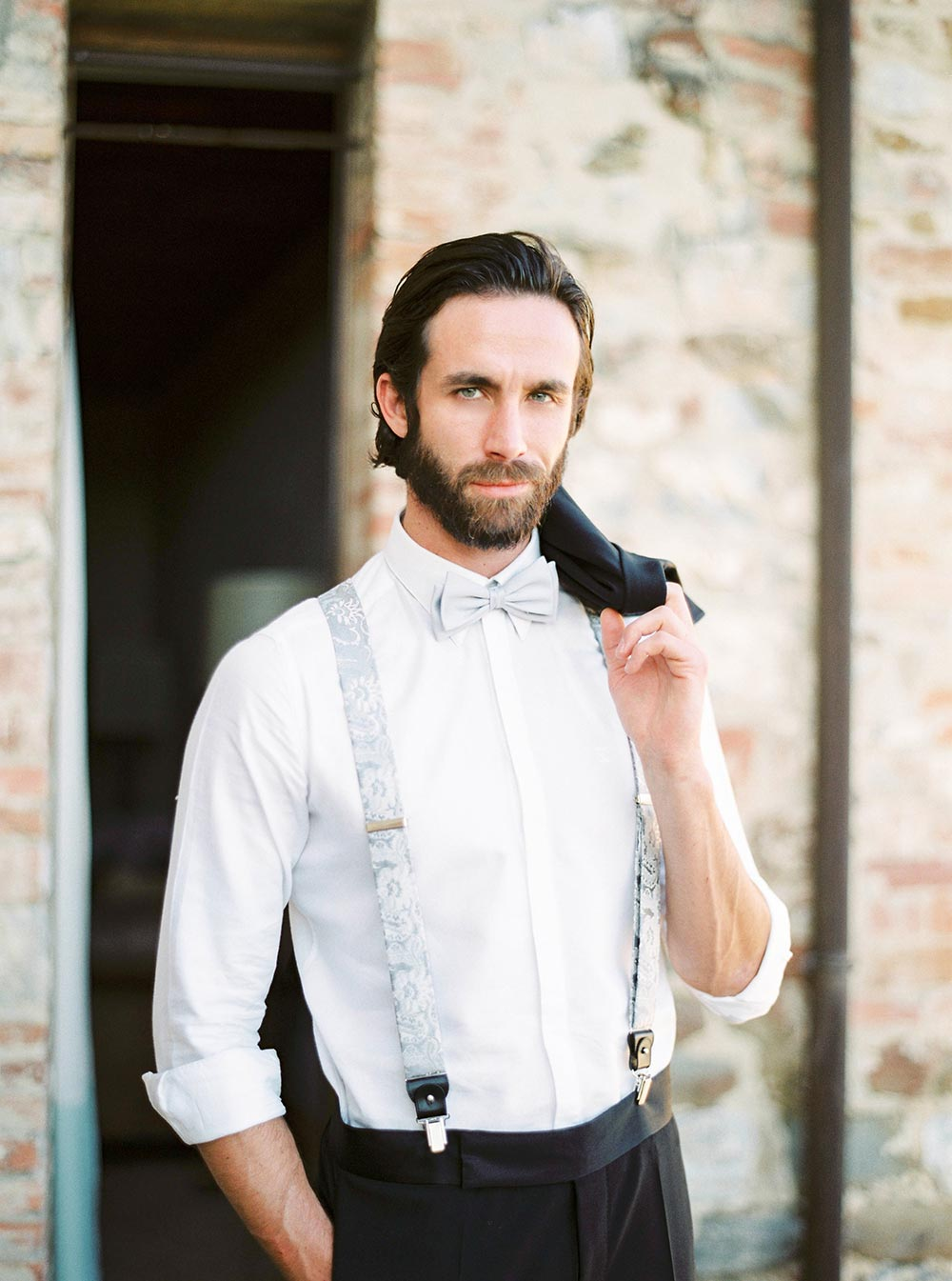 blue suspender groom attire