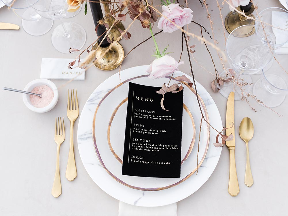 modern black tablescape with marble details