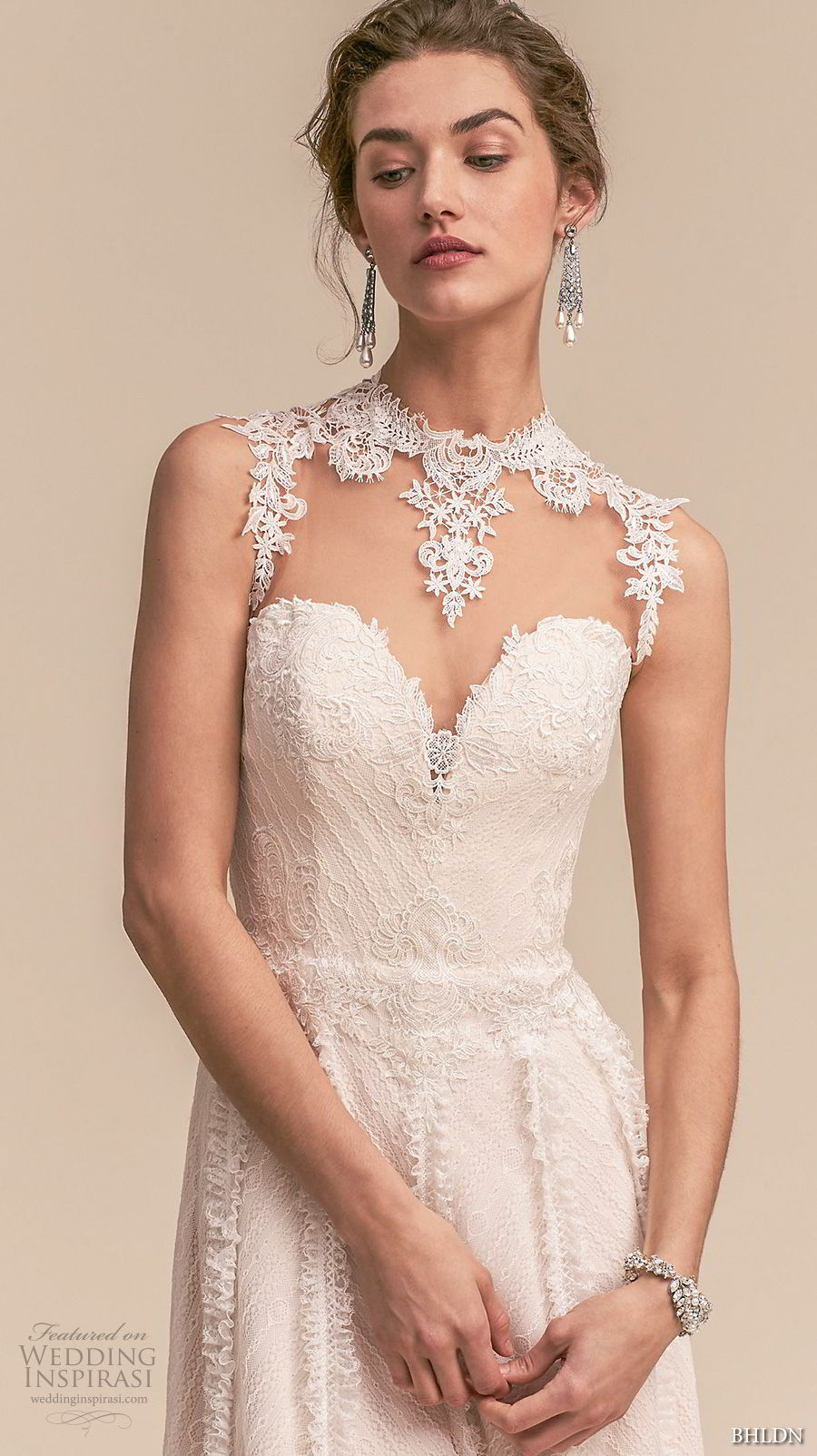 bhldn 2018 whispers bridal sleeveless illusion jewel sweetheart neckline full embellishment romantic a line wedding dress sheer button back sweep train (2) zv