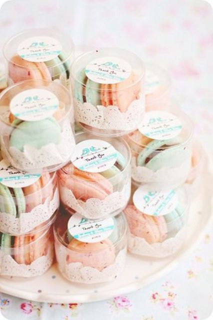 peach and mint macarons as wedding favors are a cool idea for a summer wedding