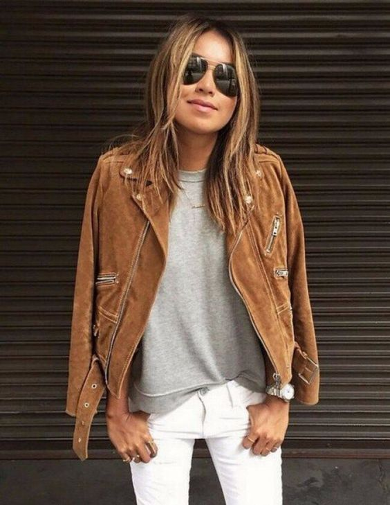 white skinnies, a grey top and a brown suede jacket for a cool and unusual look