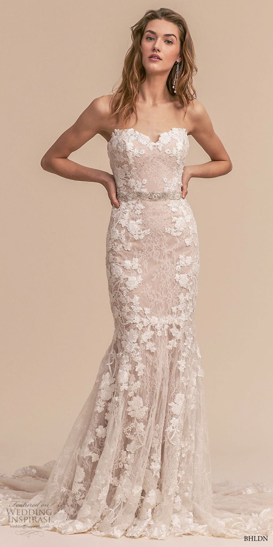 bhldn 2018 whispers bridal strapless sweetheart neckline full embellishment romantic blush mermaid weddinbg dress chapel train (3) mv