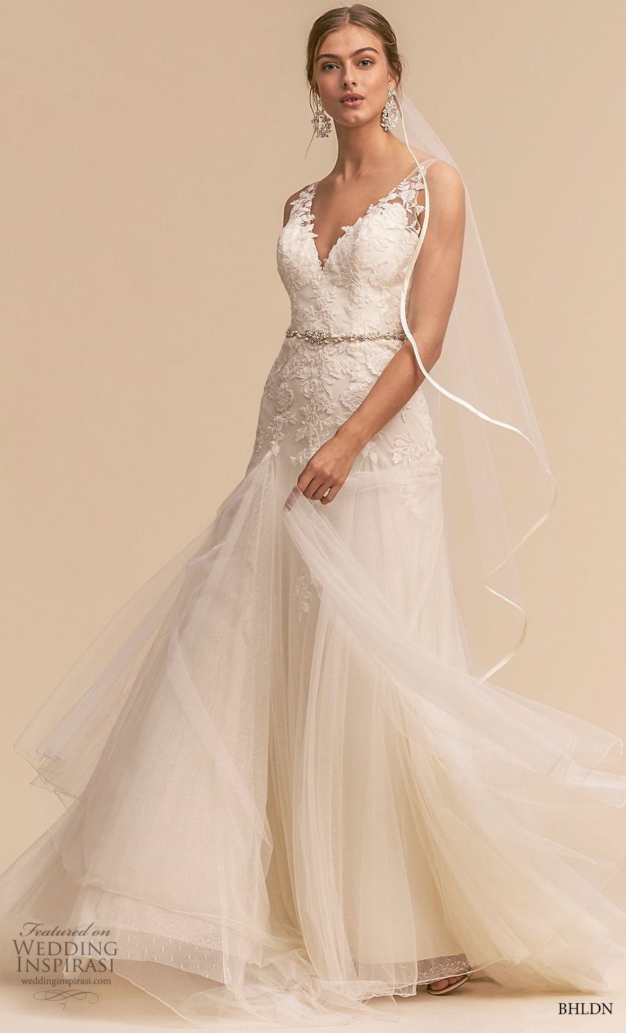 bhldn 2018 whispers bridal sleeveless v neck heavily embellished bodice romantic a line wedding dress v back sweep train (8) mv