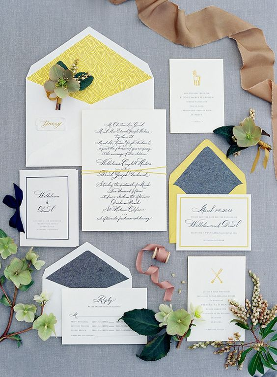 wedding invitation suite with neon yellow and muted blue details for a summer wedding