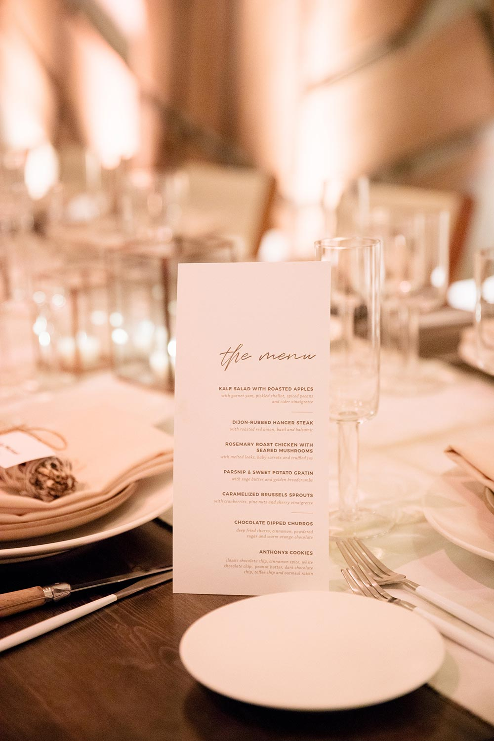 modern white and gold wedding menus