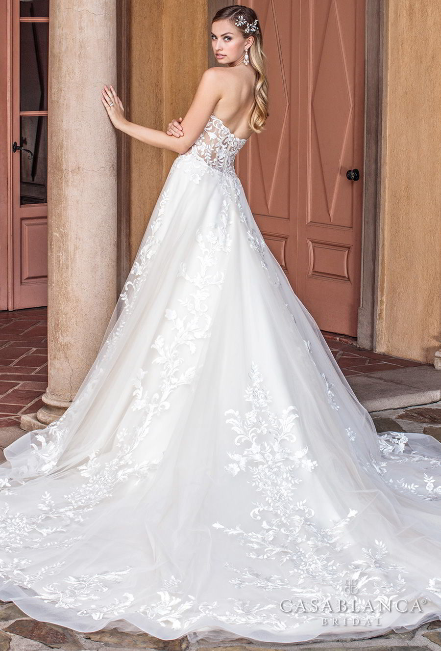 casablanca spring 2018 strapless sweetheart neckline heavily embellished bodice romantic a line wedding dress chapel train (tegan) bv