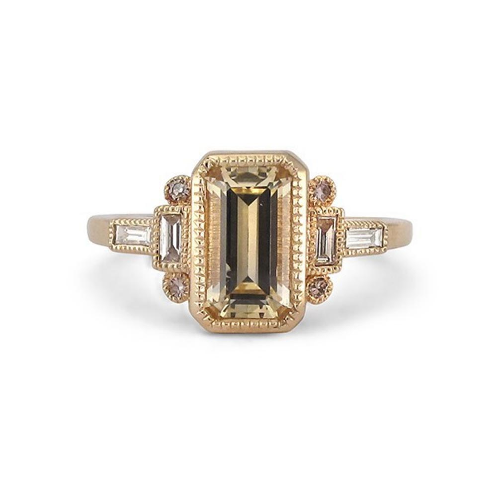 art deco emerald cut engagement ring