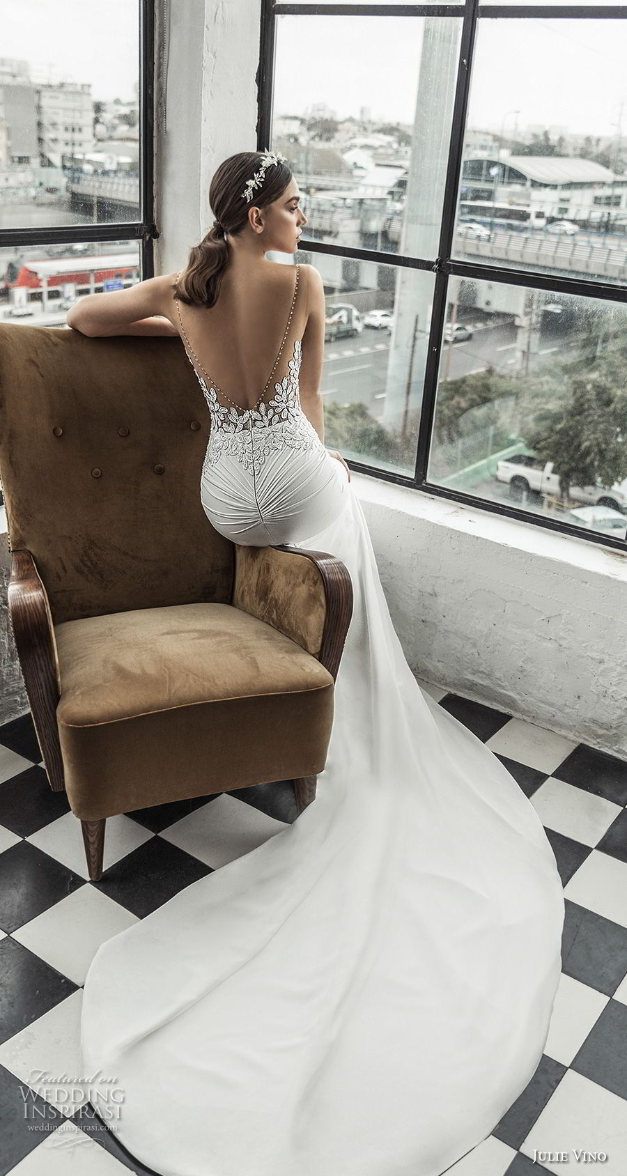 julie vino 2019 romanzo bridal sleeveless v neck heavily embellished bodice romantic elegant fit and flare wedding dress low scoop back chapel train (3) bv