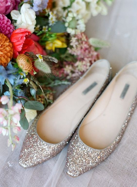 champagne-colored glitter wedding flats are an elegant choice for every bride