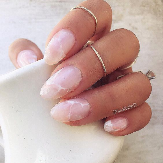 light pink marble nails are a trendy and chic idea for work