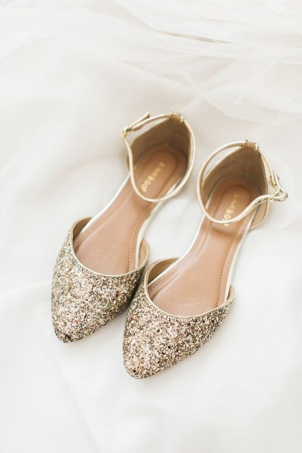 gold glitter flats with ankle straps and rounded toes for a cute and romantic feel