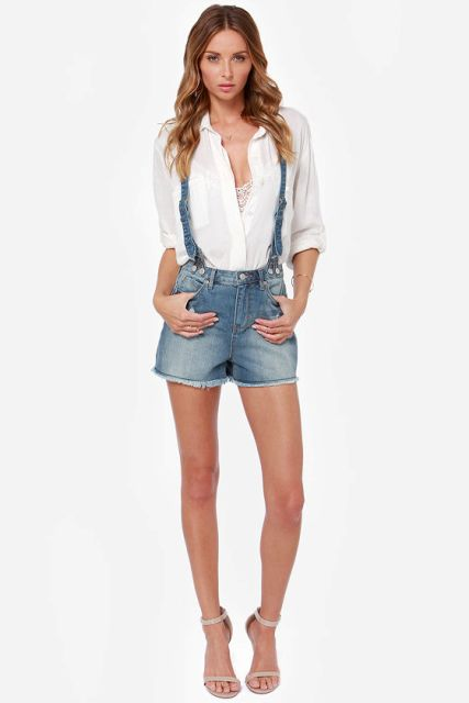 With white button down shirt and beige sandals