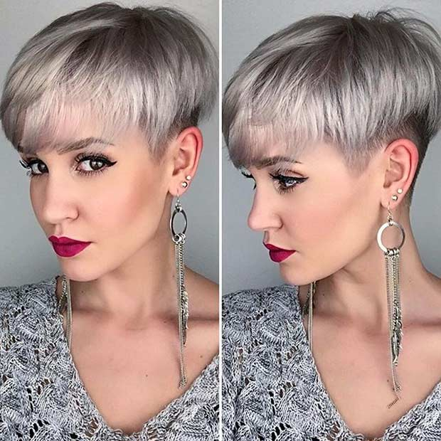 Edgy Grey Pixie Cut