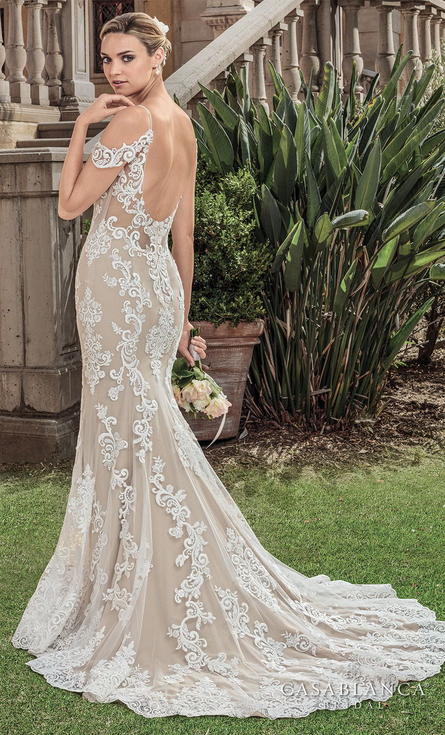 casablanca spring 2018 spaghetti strap cold shoulder full embellishment elegant fit and flare sheath wedding dress open scoop back chapel train (zola) bv