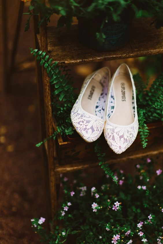 lace flats are a romantic touch to your wedding look