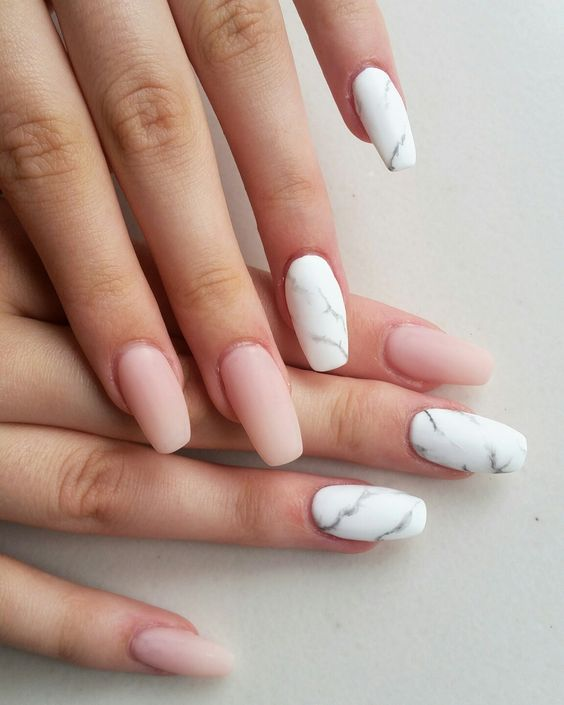 nude matte nails plus white marble accent ones for a gorgeous trendy look