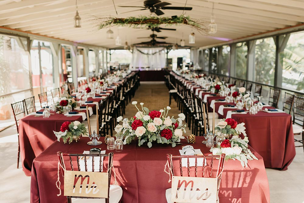 winter wedding red and green reception
